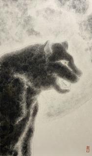 �G田住真之介「鳴く」8号雲肌麻紙、墨、岩絵具、金銀泥.jpg